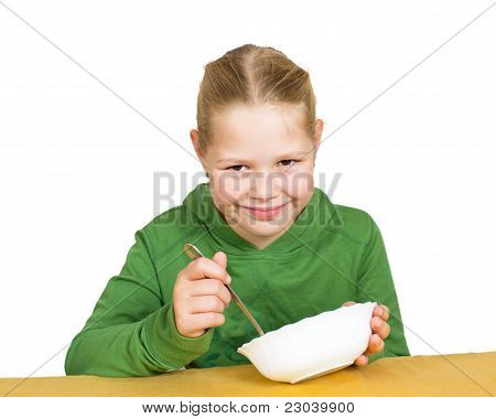 Girl Eats Isolated On White