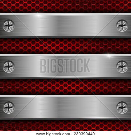 Metal Brushed Plates With Screws On Red Perforated Background. Vector 3d Illustration