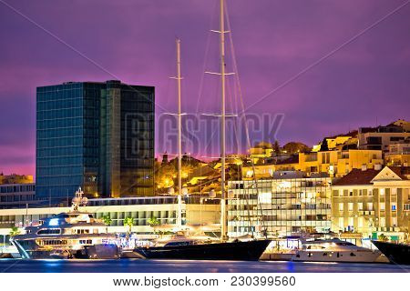 Luxury Yachts On Split Waterfront Evening View, Dalmatia, Croatia