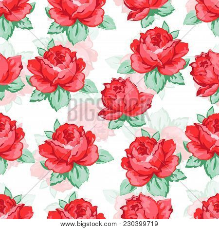 Rose Flower Hand Drawing Seamless Pattern, Vector Floral Background, Floral Embroidery Ornament. Dra