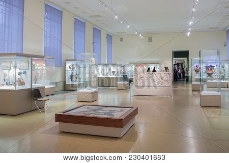 Moscow, Russia - March 01, 2017:  Hall In Pushkin State Museum Of Fine Arts, It Is Largest Museum Of