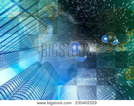 Molecules And Buildings On The Abstract Digital Background.
