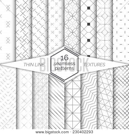 Big Set Of Vector Seamless Patterns. Modern Stylish Geometric Textures With Thin Lines. Regularly Re