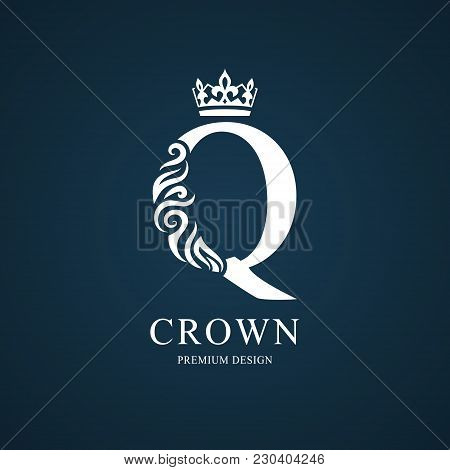 Elegant Letter Q With Crown. Graceful Royal Style. Calligraphic Beautiful Logo. Vintage Drawn Emblem