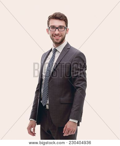 Smiling confident business man. Portrait in full growth