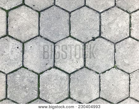 Gray figured pavement with a scuffs. Old gray paving slabs-green grass grows among the tiles. Background of gray paving slabs. poster