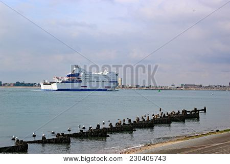 Ferry Sailing On The Solent In Portsmouth Harbour
