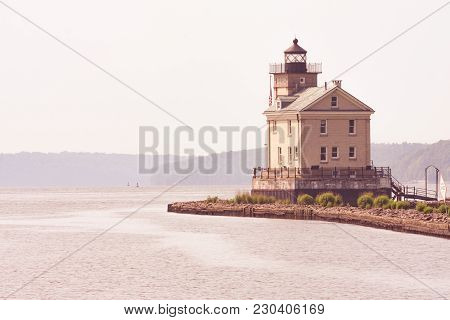 Rondout Lighthouse On The Hudson River In Kingston, New York.