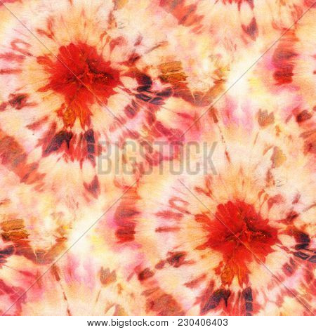 Seamless Tie-dye Pattern Of Orange Color On White Silk. Hand Painting Fabrics - Nodular Batik. Shibo