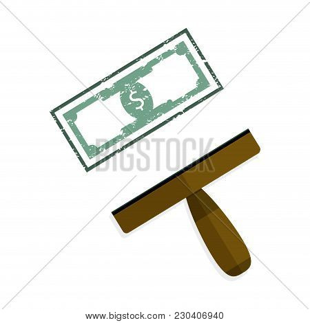 Stamp Green Banknote Dollar. Stamp Signet Grunge Die, Value Money Note. Vector Illustration