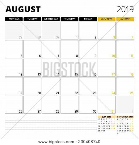 Calendar Planner For August 2019. Stationery Design Template. Week Starts On Monday. 3 Months On The