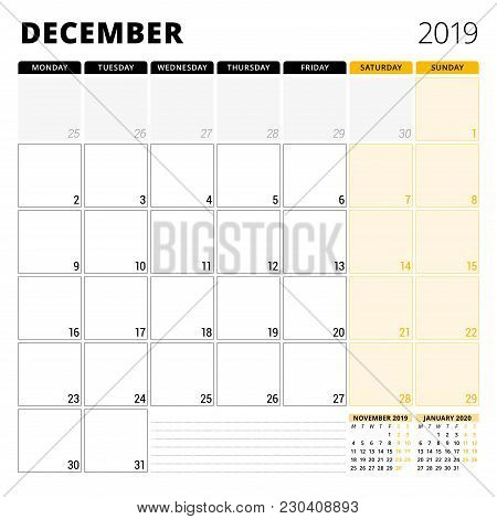 Calendar Planner For December 2019. Stationery Design Template. Week Starts On Monday. 3 Months On T