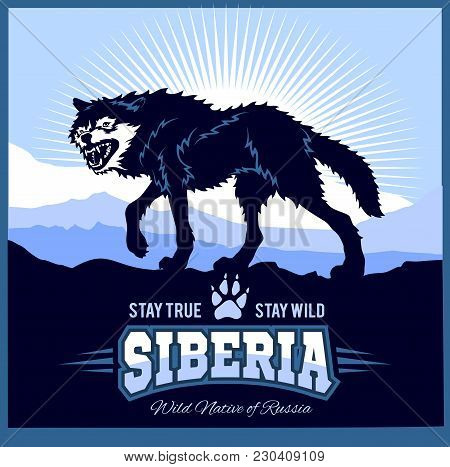 Siberia - A Wolf On The Background Of The Plain Of Russian Siberia. Vector Illustration