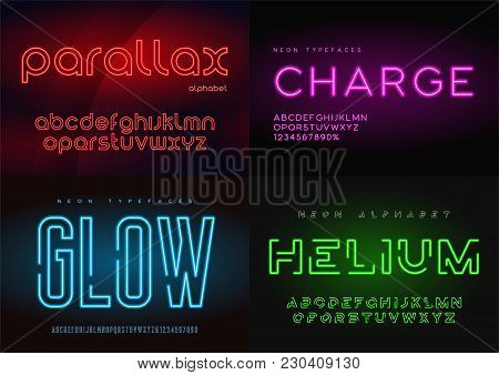 Set Of Glowing Neon Vector Typefaces, Alphabets, Letters, Fonts, Typography Global Swatches