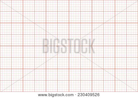 Graph Paper. Seamless Pattern. Architect Background. Red Millimeter Grid Template. Vector Illustrati