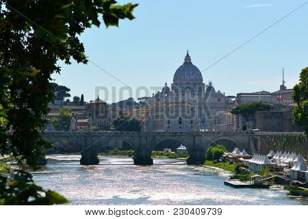 St. Peter's Cathedral, Vatican, Rome, Italy. Bridge over Tiber, wide angle view. 10 of July 2017.
