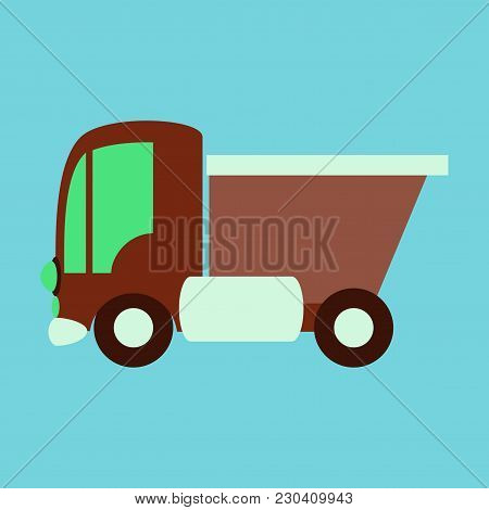 Icon In Flat Design Truck Toy Travel, Vehicle