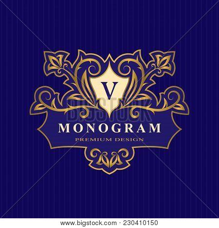 Gold Monogram Design Elements, Graceful Template. Calligraphic Elegant Line Art Logo. Letter V Emble