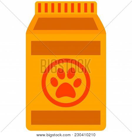 Colorful Cartoon Wet Pet Food Bag Icon Poster. Pet Care Themed Vector Illustration For Gift Card, Fl