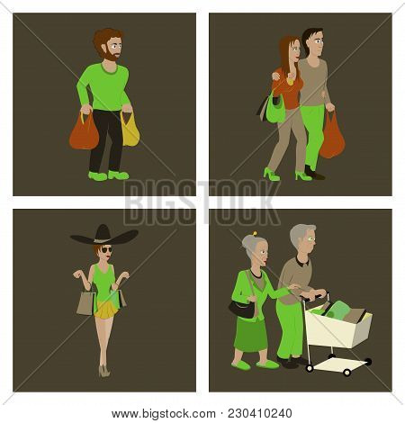 Set Of People Shopping Person, Shopping, Commercial, Illustration,