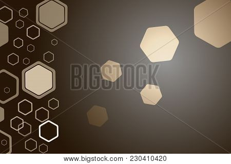 Abstract Dark Brown Wide Background With Different Size And Opacity Hexagon Shapes.
