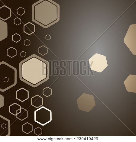 Abstract Dark Brown Background With Different Size And Opacity Hexagon Shapes.