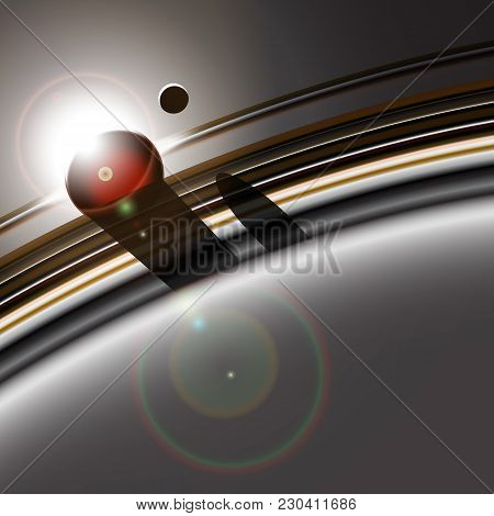 Gas Giant's Ring System And It's Moon Interacting. Star Or Sun Eclipse. Deep Space Abstract Backgrou