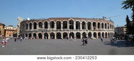 VERONA, ITALY - MAY 27: Ancient roman amphitheater Arena in Verona Verona is a UNESCO World Heritage site, Italy, on May 27, 2017.