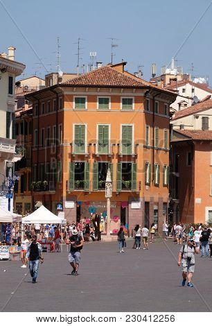 VERONA, ITALY - MAY 27: Architecture of the old town of Verona, Italy. City of Verona is a UNESCO World Heritage site, Italy, on May 27, 2017.