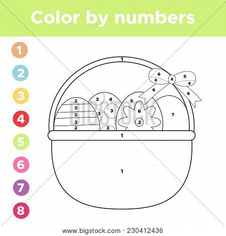 Color By Numbers. Coloring Page Easter Eggs In Basket. Educational Game For Preschool Children. Vect