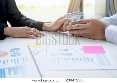 Bribery And Corruption Concept, Bribe In The Form Of Dollar Bills, Businessman Giving Money While Ma