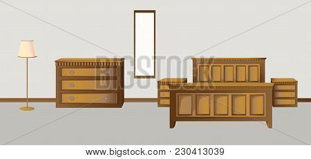 Classic Bedroom In Antique Style Walnut Colors In A Bright Interior With A Floor Lamp And A Mirror O