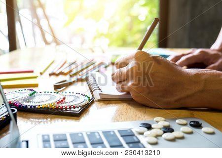 Fashion Designer Stylish Concept, Young Dressmaker Or Designer Drawing Design Sketch Working For Clo