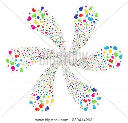 Attractive Stop Hand Twirl Flower Shape. Hypnotic Centrifugal Explosion Combined From Scattered Stop