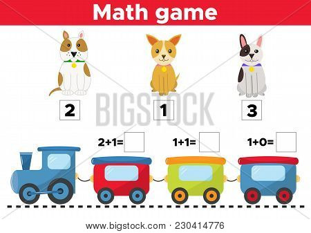 Counting Game For Preschool Kids. Help The Dogs Find The Right Train Car. Educational Math Game. Vec