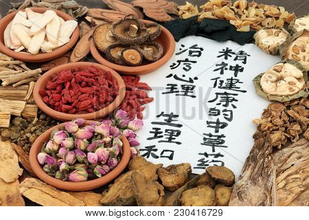 Chinese herbs used in alternative herbal medicine with calligraphy script on rice paper. Translation reads as traditional ancient chinese medicine to heal mind, body and spirit.