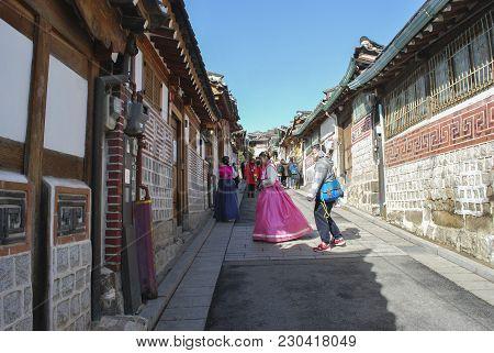 Seoul, South Korea - January 27th 2017:  Korean Traditional House At Bukchon Hanok Village Is Most A