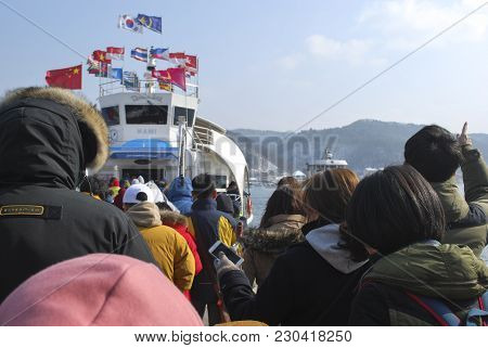 Seoul, South Korea - January 30th 2017: Crowd  Waiting Before Entering Cruise At Nami Island, South