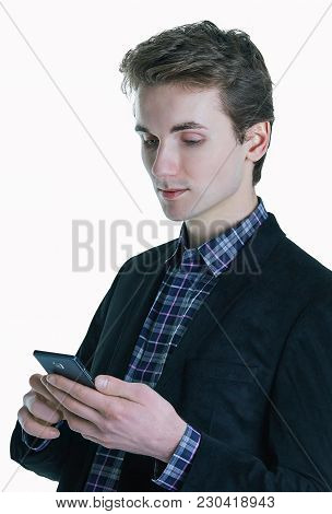 Close Up Of Young Businessman Using Smart Phone Isolated On White Background. Stay In Touch, Best Ce