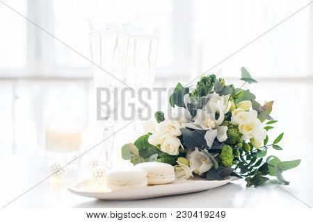 Beautiful Wedding Decoration With Champagne And White Flowers, Elegant Decor With Crystal Wine Glass