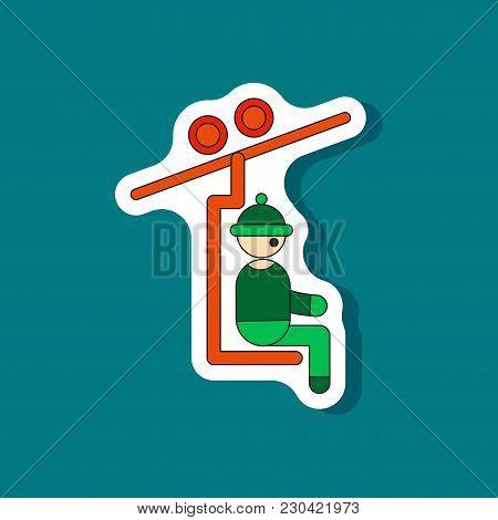 Paper Sticker On Stylish Background Man On Ski Lift