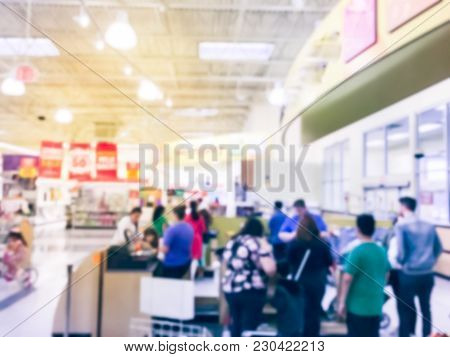 Busy Checkout Line At Toys Store In America