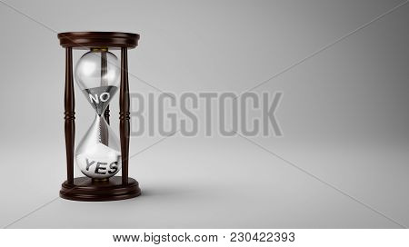 Hourglass With Black And White No And Yes Text In The Sand On Gray Background With Copyspace 3d Illu