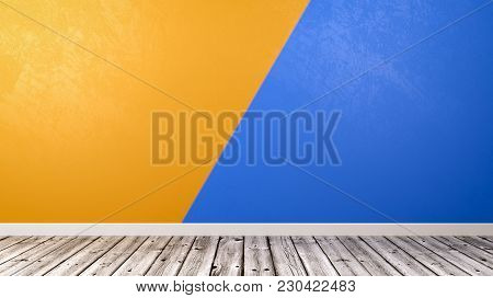 Empty Room With Wooden Floor And Two Colors Duotone Orange And Blue Wall Background With Copyspace 3