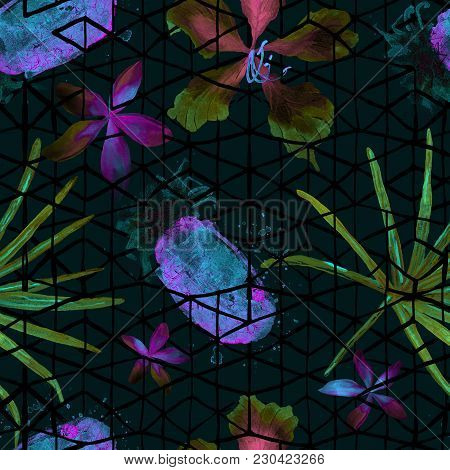 Exotic Geometry Seamless Pattern With Watercolor Palm Leaf, Pineapple, Plumeria Flowers And Geometri