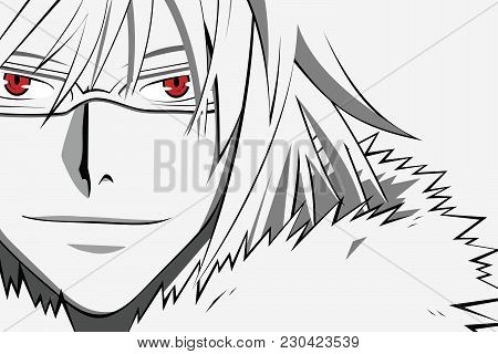 Anime Face With Red Eyes In Glasses From Cartoon. Web Banner For Anime, Manga On White Background. V