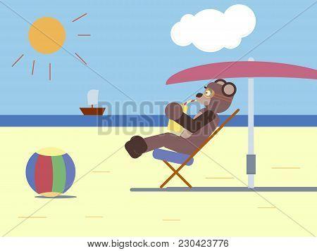 Cartoon Brown Bear Drinking Lemonade At The Beach Flat Illustration , Cartoon Bear , Cartoon Animals