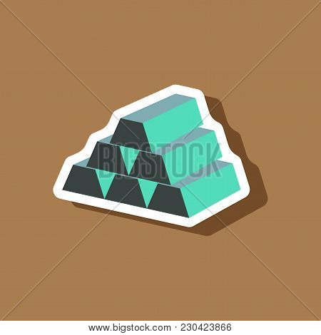 Paper Sticker On Stylish Background Gold Bars