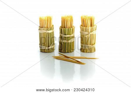New Bamboo Toothpicks In Bamboo Boxes On White Background Close-up