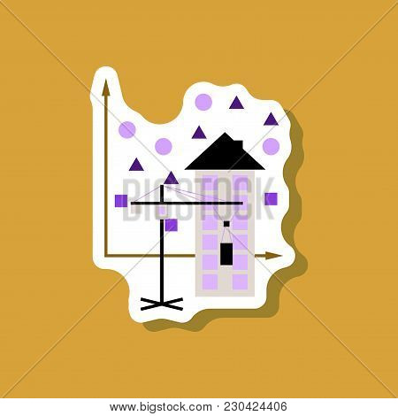Paper Sticker On Stylish Background Construction Crane And House